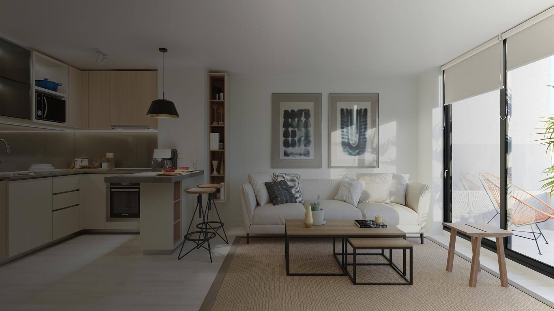 Eco Costas - Cocina Sala de estar